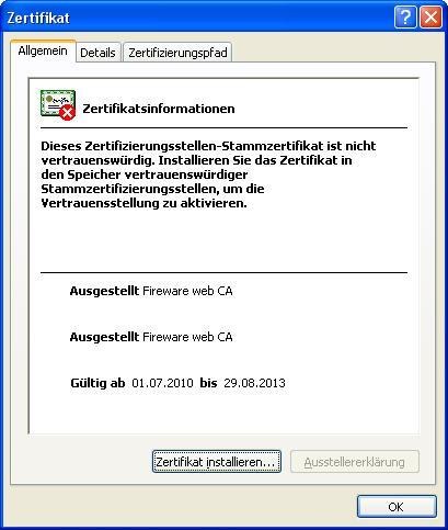 Öffentliches Zertifikat für Anmeldeseite (Port 4100 tcp) verwenden ...