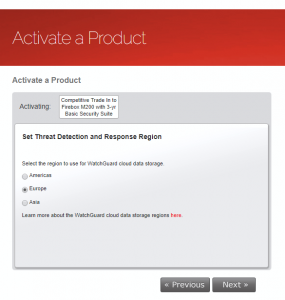Activation Wizard Set TDR Region