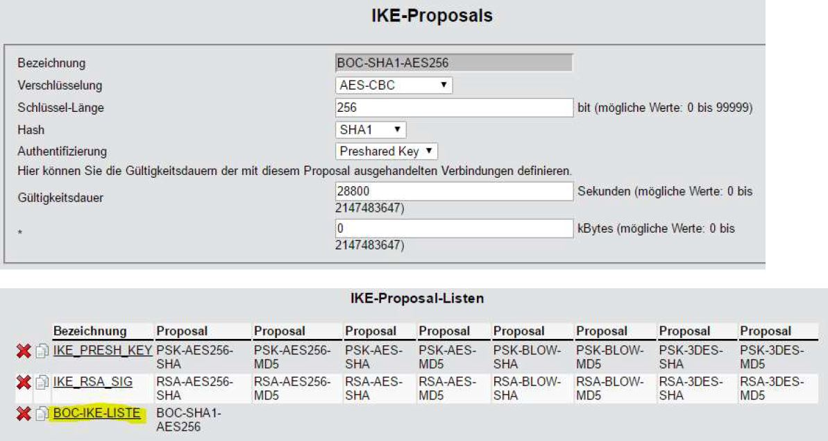 LANCOM-Router IKE-Proposal-Listen