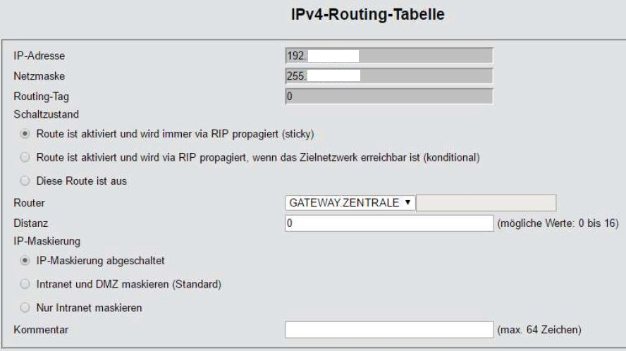 LANCOM-Router IPv4-Routing-Tabelle 2