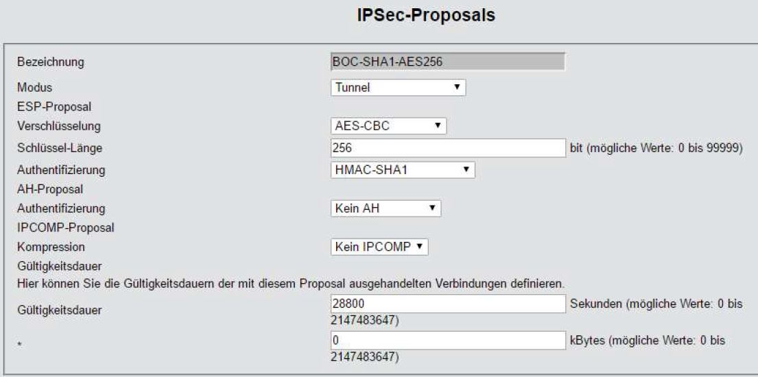 LANCOM-Router IPSec-Proposal