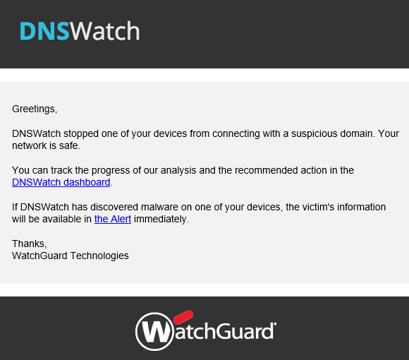 WatchGuard DNSWatch alert