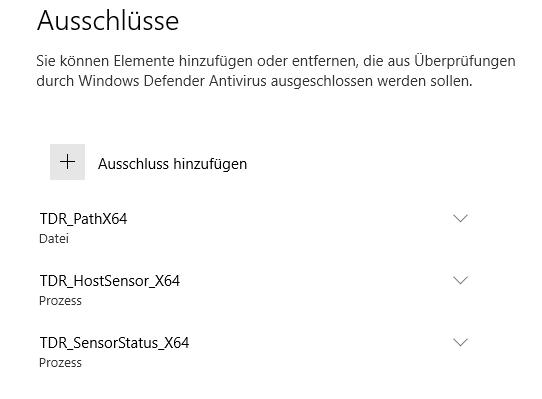 Windows Defender Security Center -> Viren- und Bedrohungsschutz -> Ausschlüsse