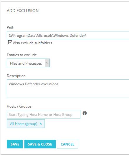 Exclusion in TDR für Windows Defender